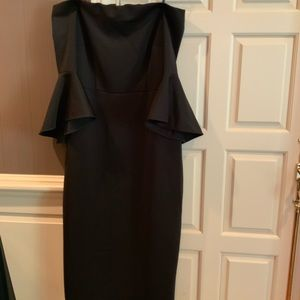 Plus size black off the shoulder bell sleeve dress